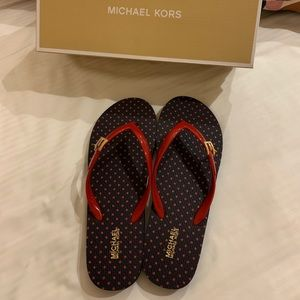 Michael Kors Red Blue Flip Flops w/ Gold Pendants